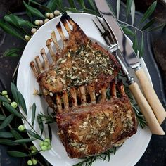 Garlic-Crusted Roast Rack of Lamb - sub MCT for evoo to make paleo
