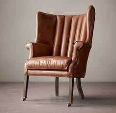 Warwick Leather Wing Chair Restoration Hardware