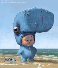 little boy in whale costume