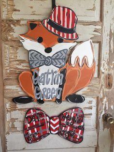 Fox Birth Announcememt Hospital Door Hanger by queensofcastles on Etsy https://www.etsy.com/listing/240677508/fox-birth-announcememt-hospital-door