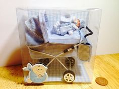 dolls house ooak sculpt tiny baby Boy and Blue Checked Pram 1/12 scale