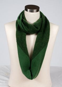 Beautiful upcycled green cashmere infinity scarf by LadyBaabaa1, $18.00