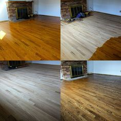 Resand completed on the 60 year old red oak, stained with Bona…
