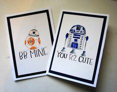 R2D2 BB8 Star Wars Hand Painted Valentine's Card