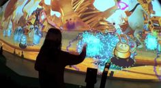 A $ 13million, South Korean theme park uses 3D video, holograms and augmented reality whilst interacting with RFID wrist bands & Kinect sensors attached to the theme park goer!  �