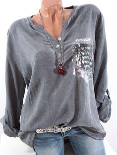 Casual Heart Print Loose Long Sleeve V-neck Women Blouses