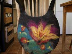 Stunning hand-felted shoulder bag with vibrant floral design