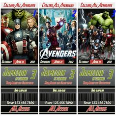 The Avengers Birthday Ticket Invitation. $10.00, via Etsy.