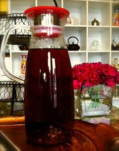 For Life iced tea pitcher in rouge (currently brewing Raspberry Rose Tisane)