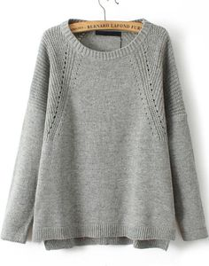 Grey Long Sleeve Dipped Hem Knit Sweater - abaday.com
