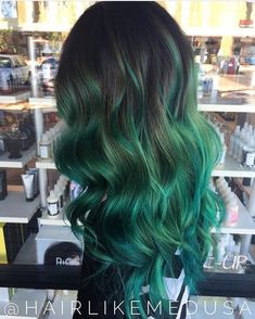 """136 Likes, 2 Comments - Rainbow Hair (@spectrum.hair) on Instagram: """"Such a gorgeous emerald melt by @hairlikemedusa  Tag @spectrum.hair in your photos or…"""""""