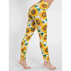 Sunflower Print Leggings Only worn these super cute leggings once, so they're in great condition! Size medium but they fit more like a small. American Apparel Pants Leggings