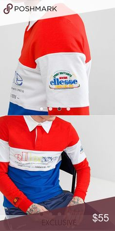 Ellesse Color Block Long Sleeve Red/white/Blue PRODUCT DETAILS Polo shirtbyellesse Polo collar Color-block design Button placket Branded details Regular cut - fits you just right You heard it here first 100%Cotton  PRODUCT CODE 1232504  Hey PoshMark I've been gone but now I'm back in action!!! Exclusives are Coming!!! Get while it's HOTT!!! Ellesse Shirts Polos