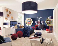 Teen Boy Bedroom Design, Pictures, Remodel, Decor and Ideas - page navy accent wall Bedroom Walls, Accent Wall Bedroom, Blue Bedroom, Girls Bedroom, Bedroom Decor, Bedroom Ideas, Childrens Bedroom, Funky Bedroom, Bedroom Interiors