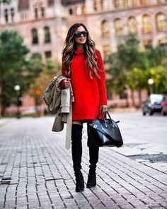Red Dress with Boots Sweater