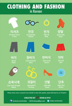 Clothing & Fashion Vocabulary in Korean.