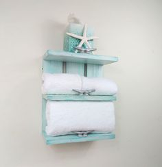 Wooden Beach Wall Decor-Rolled Towel Rack with Boat Cleats-Small Coastal Bathroom Shelves-Wooden Nautical Shelf-Wall Shelves Coastal Design - Modern Beach Cottage Style, Beach Cottage Decor, Coastal Cottage, Coastal Homes, Coastal Style, Coastal Decor, Coastal Furniture, Coastal Farmhouse, Coastal Rugs