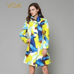 Find More Down & Parkas Information about VOA high collar yellow blue jacquard silk cotton padded jacket winter coat female M1135,High Quality coates street,China coats guess Suppliers, Cheap coat from VOA Flagship Shop on Aliexpress.com