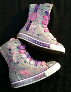 65568c7e22fd Size Splatter Paint and Bling Custom Converse- Boys- Girls- Infant- Baby-  Toddler- Little Kid- Big Kid- Pink And Purple- Ready To Ship by DivineKidz  on Etsy