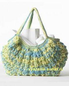 вязаная сумочка спицами тучный мешок из меланжевой пряжи