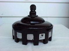 Art Deco Black Amethyst Glass Powder Jar With Harlequin Head On Lid