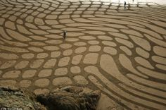 """""""Beach walk: Admirers take a stroll through 'Warped Fields', another one of Mr Amador's earlier creations"""""""