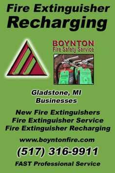 Fire Extinguisher Recharging Gladstone, MI.  (517) 316-9911 Check out Boynton Fire Safety Service.. The Complete Source for Fire Protection in Michigan. Call us Today!