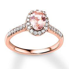 Morganite Engagement Ring 1/4 ct tw Diamonds 14K Rose Gold