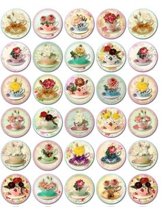 "Vintage inspired tea cups round bottlecaps 1"", 1.5"", 2"" stickers scrapbooking #Handmade"
