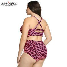 55106d2266 Plus Size Striped Vintage High Waist Push Up Bathing – Thick Chick  Treasures Plus Size Bikini