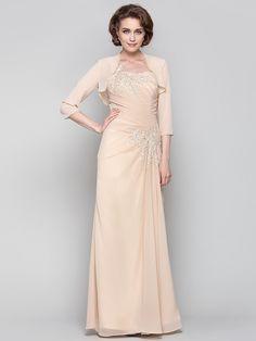 Dress - Champagne Plus Sizes / Petite Sheath/Column One Shoulder Floor-length Chiffon - USD $116.99