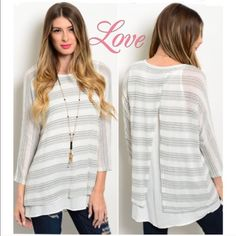 Striped knit Ivory & black top w/ silk like under This gorgeous striped print top features a crew neckline, long sleeves and a relaxed fit. It has a gorgeous ivory silk feel underlay that shows in the backing. So soft and comfy and perfectly paired with your favorite skinnies. Price is firm unless bundled. Have other colors please check listings. ValMarie Boutique Tops