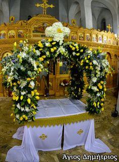 Στολισμένοι επιτάφιοι ενοριών | Ένωση Μακεδόνων Κέρκυρας Church Flowers, Iglesias, Table Decorations, Home Decor, Flower Decoration, Saints, Altar Decorations, Altars, Art