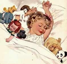 Illustration of a little girl and her stuffed animal companions by Dautrefois.
