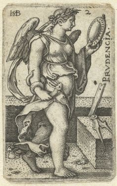 Hans Sebald Beham - The Knowledge of God and the Seven Cardinal Virtues: Prudence - Prudencia (engraving); Cleveland Museum of Art Good link to the set Tarot, Vishu Images, Bible Tattoos, 7 Sins, Cleveland Museum Of Art, Classic Paintings, Antique Illustration, Albrecht Durer, Medieval Art