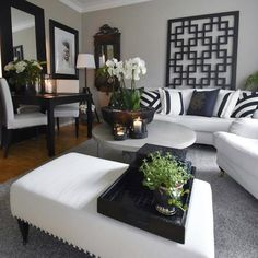 Black white grey living room with decor