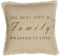 """Let everyone know family is important to you with our Creme Burlap Family Pillow 16"""" Filled! This would be great on your couch or as a fun accessory to any bedding. https://www.primitivestarquiltshop.com/products/creme-burlap-family-pillow-16-filled #primitivecountrybedroomsbeddingandaccessories"""