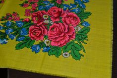 Vintage floral yellow wool shawl Russian floral by Lilivintagebox