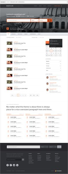 Events Wordpress Theme by Sorel-Mihai Arghire, via Behance