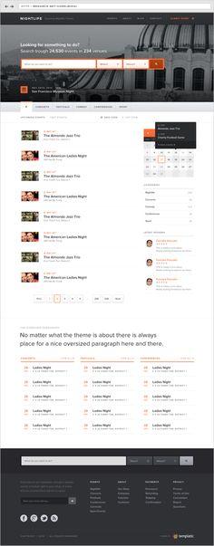 Events Wordpress Theme by Sorel-Mihai Arghire, via Behance