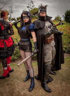 Steampunk Darkwing and Batman, this is stellar really and Harley in the background... Awesome