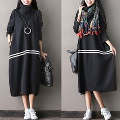 Thick Casual Long Sleeved Dress