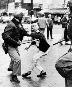 Richard Aoki, Japanese member of the Black Panthers, takes part in a protest near the UC Berkeley campus in 1969. Photo: Lonnie Wilson, Oakland Tribune / SF