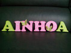Letras de madera decoradas para Ainhoa