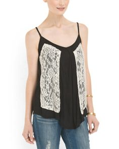 Lace Overlay Top - Tops - T.J.Maxx