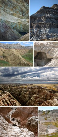 """images (clockwise): """"The Badlands"""" by Bala, """"Strata In The Badlands"""" by Just A Prairie Boy, """"The Badlands"""" by Kurt Magoon, """"These are The Badlands"""" by Joel Hernandez, """"The Badlands"""" by Chuck Grimmett, """"The top of The Badlands"""" by Paul Carroll, """"78 Yellow Mounds"""" by Cariliv,"""