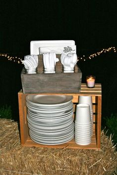 Use vertical space on your buffet table at your graduation party.