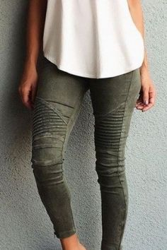 Our favorite pants, and they will be yours too! Amazing detail on the knees and zippers on the ankles. Size shown is a small. Fabric has some stretch. 97% cotton 3% spandex