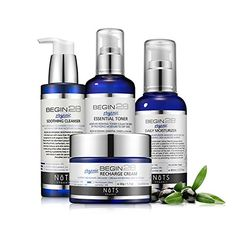 Premium Organic Refreshing Set with Cleanser  Toner  Facial Moisturizer  Soothing Cream  Natural Components to Balance your Skin by Korea >>> Check this awesome product by going to the link at the image. (It is an affiliate link and I receive commission through sales)