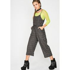0cf4c4f2db7 Plaid Drawstring Jumpsuit ( 35) ❤ liked on Polyvore featuring jumpsuits and  grey Fast Fashion